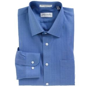 $89, John W Nordstrom Dress Shirt Blue  18-35 xl